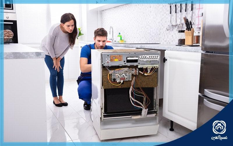باز کردن لوله فاضلاب ماشین ظرفشویی